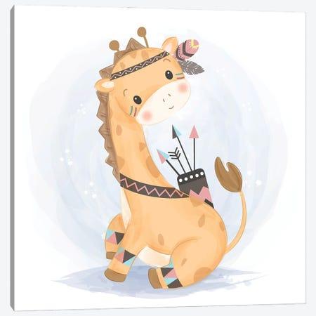 Cute Giraffe Illustration In Watercolor Canvas Print #ARM633} by Art Mirano Canvas Wall Art