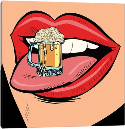 Beer On The Mouth Canvas Art Print