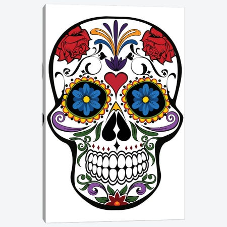 Skull With Flowers Canvas Print #ARM636} by Art Mirano Canvas Art Print