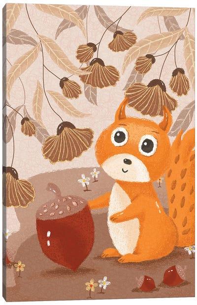 Little Squirrel Coil Illustration Canvas Art Print