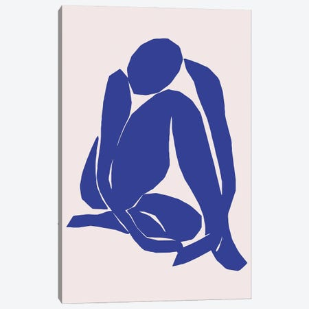 Navy Blue Woman Sitting Canvas Print #ARM646} by Art Mirano Canvas Wall Art