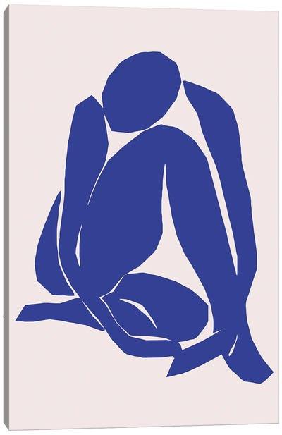 Navy Blue Woman Sitting Canvas Art Print