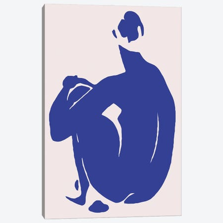 Navy Blue Woman Sitting II Canvas Print #ARM647} by Art Mirano Canvas Wall Art