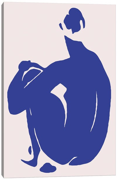 Navy Blue Woman Sitting II Canvas Art Print