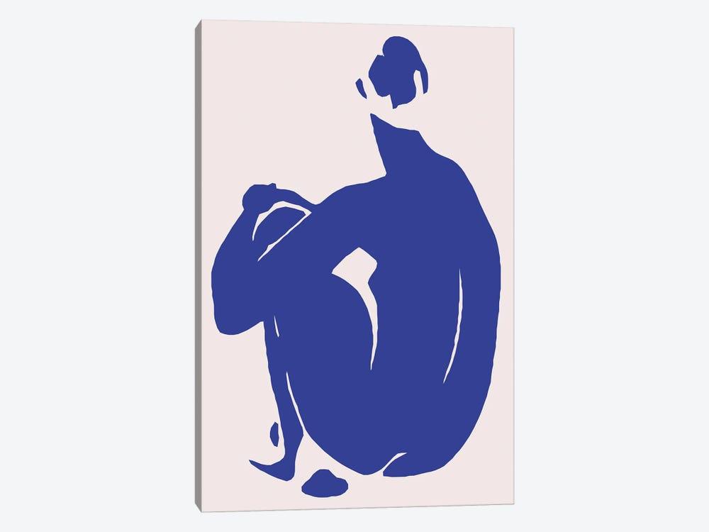 Navy Blue Woman Sitting II by Art Mirano 1-piece Art Print
