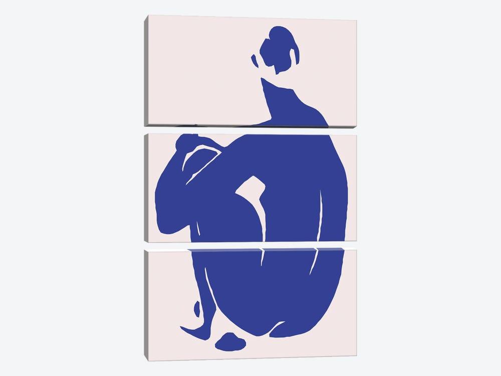 Navy Blue Woman Sitting II by Art Mirano 3-piece Canvas Print
