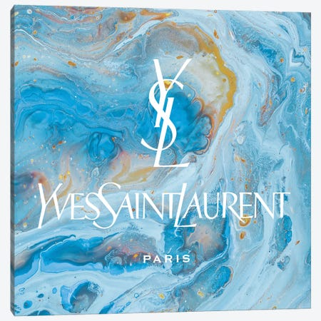 Yves Saint Laurent Blue Abstract YSL Canvas Print #ARM658} by Art Mirano Canvas Wall Art