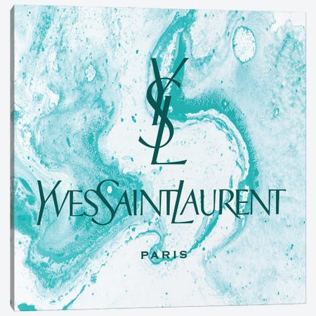 Yves Saint Laurent Azure Abstract YSL Canvas Print #ARM659} by Art Mirano Canvas Artwork