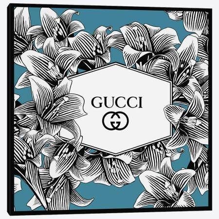 Blue Gucci In Lílium Flowers Canvas Print #ARM664} by Art Mirano Canvas Artwork