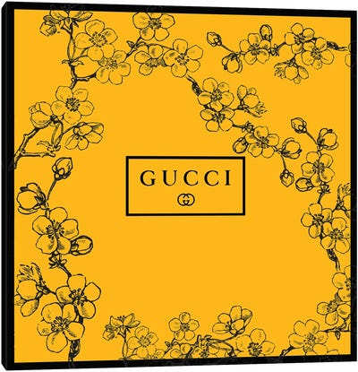 Yellow Gucci Prunus Serrulata Flowers Canvas Art Print