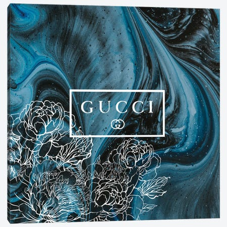 Blue Black Marble Abstract Fashion Art With Flowers Gucci Canvas Print #ARM671} by Art Mirano Canvas Wall Art