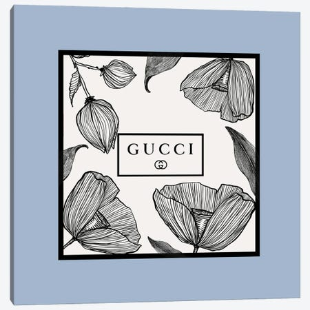 Blue Frame Gucci Flowers Canvas Print #ARM673} by Art Mirano Canvas Wall Art