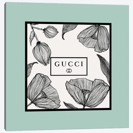 Mint Frame Gucci Flowers Canvas Print #ARM674} by Art Mirano Art Print