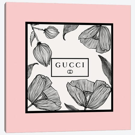 Pink Frame Gucci Flowers Canvas Print #ARM675} by Art Mirano Canvas Print