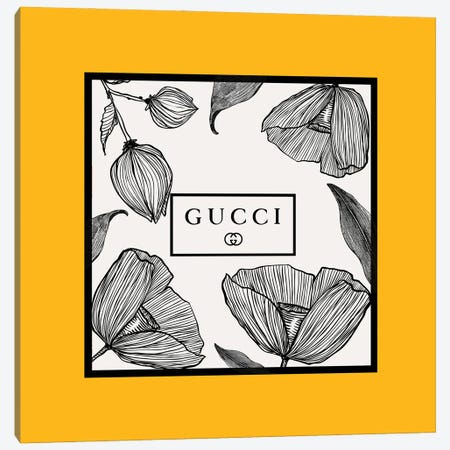 Yellow Frame Gucci Flowers Canvas Print #ARM676} by Art Mirano Canvas Art Print