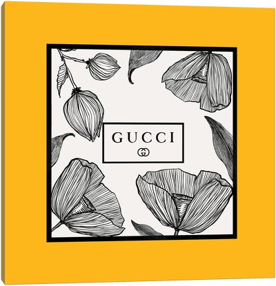Yellow Frame Gucci Flowers Canvas Art Print