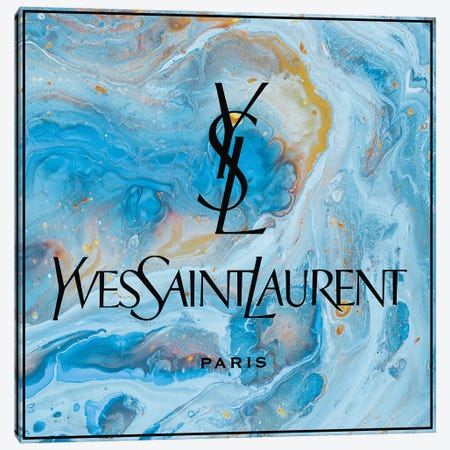 Yves Saint Laurent Blue Abstract Ysl Black Letters Canvas Print #ARM681} by Art Mirano Canvas Print