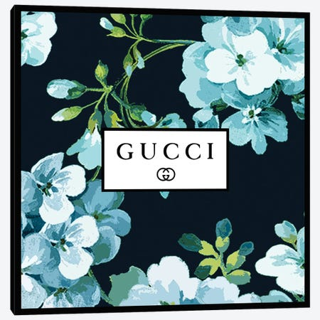 Gucci In Flowers Blue Navy Canvas Print #ARM682} by Art Mirano Canvas Art Print