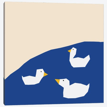Geese On The Water Canvas Print #ARM696} by Art Mirano Art Print