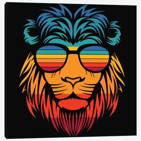 Lion In Sunglasses Canvas Print #ARM699} by Art Mirano Canvas Artwork