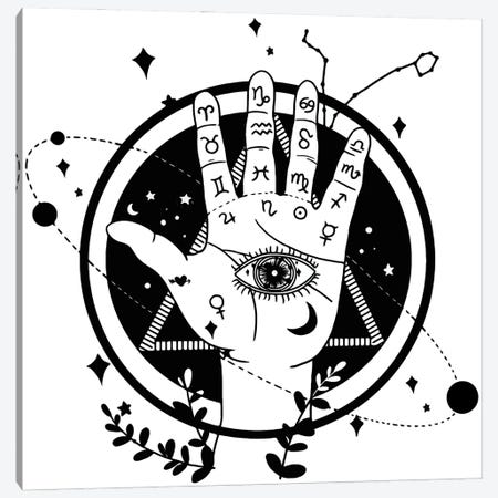 Palmistry White Canvas Print #ARM704} by Art Mirano Art Print