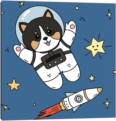 Dog In Space Canvas Art Print
