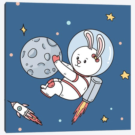 Rabbit In Space Canvas Print #ARM733} by Art Mirano Canvas Art Print