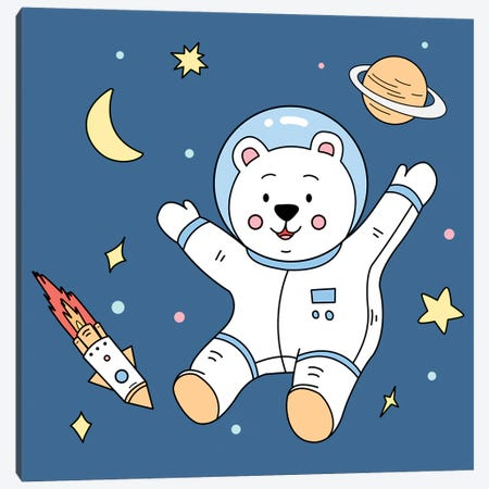 White Bear In Space Canvas Print #ARM737} by Art Mirano Canvas Art