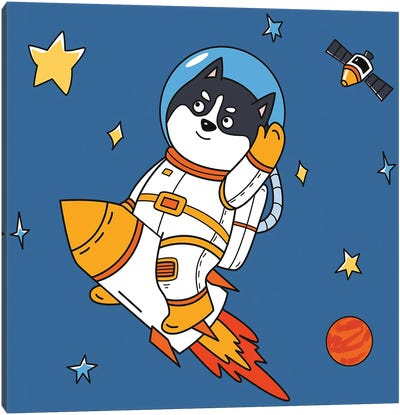 Dog In Space III Canvas Art Print