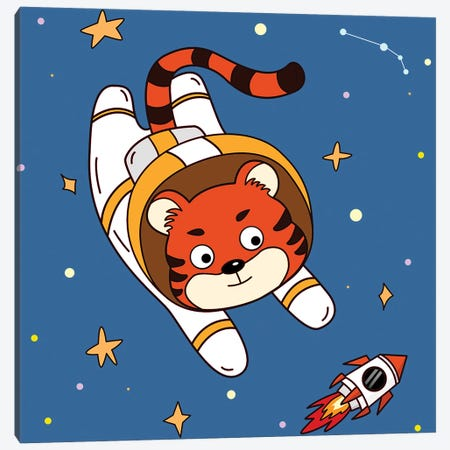Tiger In Space Canvas Print #ARM749} by Art Mirano Canvas Wall Art