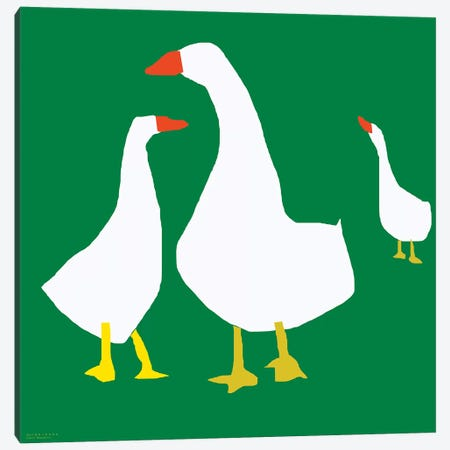 Geese On Green Canvas Print #ARM98} by Art Mirano Canvas Art Print