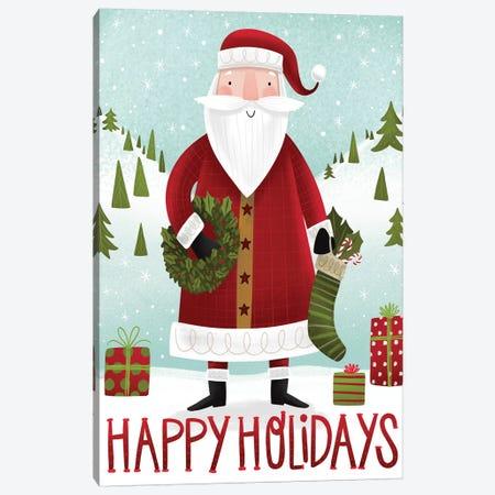 Folk Santa Canvas Print #ARR34} by Arrolynn Weiderhold Art Print