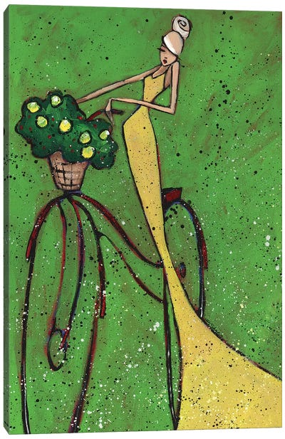 Femme Et Bicyclette Canvas Art Print