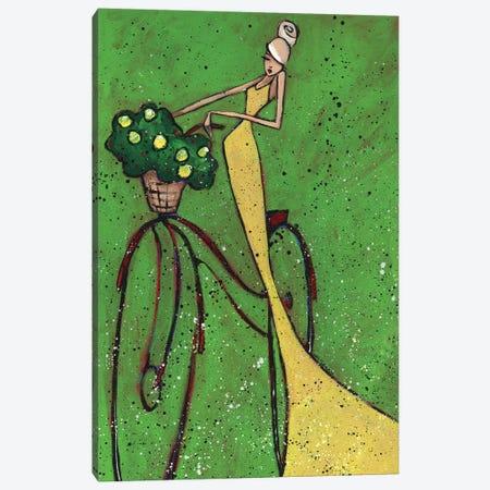 Femme Et Bicyclette Canvas Print #ARS19} by ArtByShano Art Print