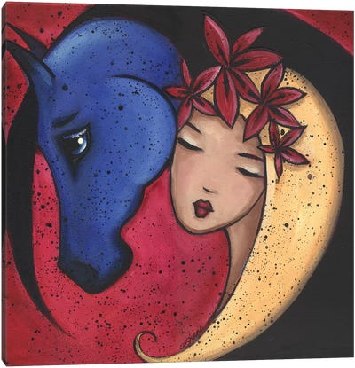 Femme Et Cheval Bluehorse Canvas Art Print