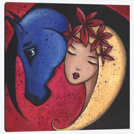 Femme Et Cheval Bluehorse Canvas Print #ARS22} by ArtByShano Canvas Art