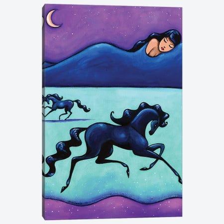 All The Pretty Horses Black Horses Canvas Print #ARS3} by ArtByShano Canvas Wall Art