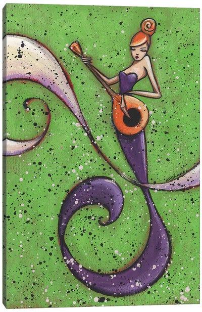 Musical Mermaid Red Hair Canvas Art Print