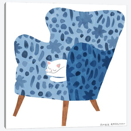 My Chair (Blue) Canvas Print #ARZ11} by Angie Rozelaar Canvas Art