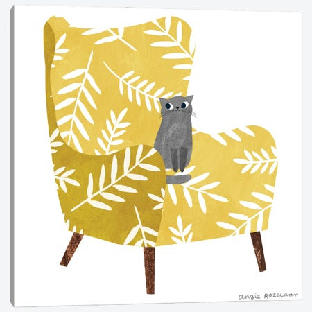My Chair (Mustard) Canvas Print #ARZ15} by Angie Rozelaar Art Print