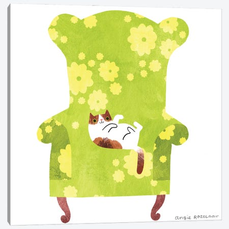My Chair (Green And Yellow) Canvas Print #ARZ16} by Angie Rozelaar Canvas Art Print
