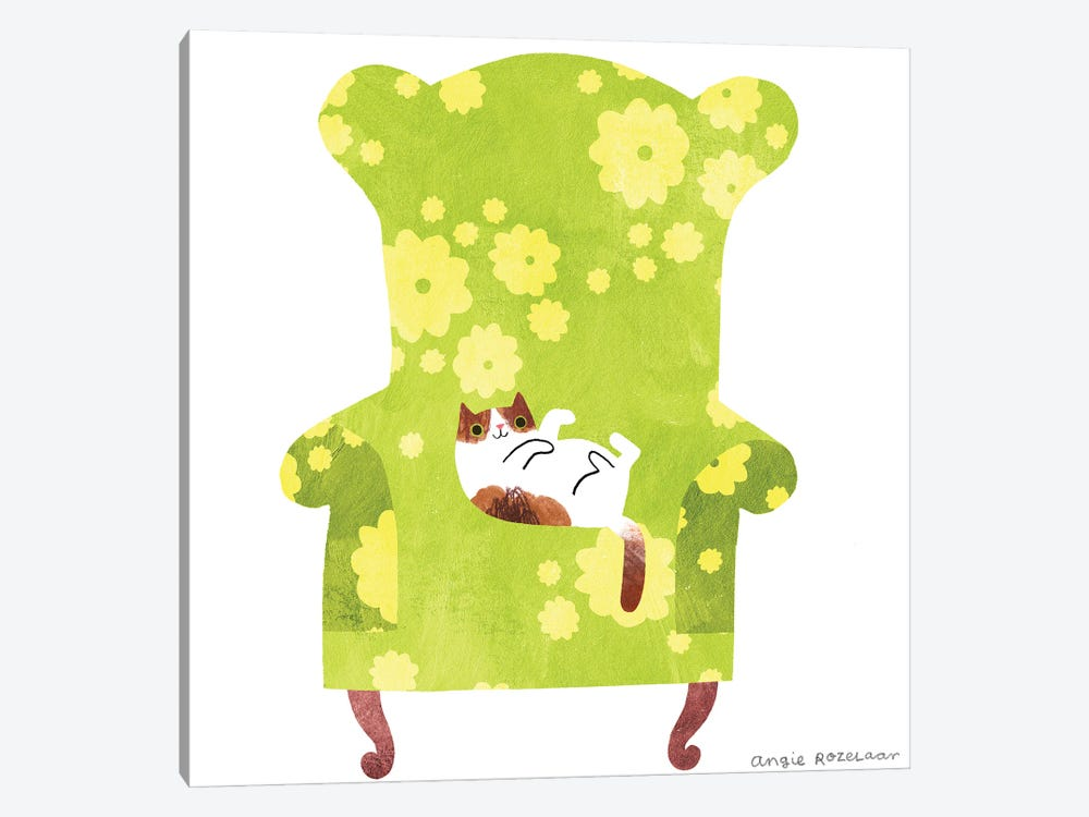 My Chair (Green And Yellow) by Angie Rozelaar 1-piece Canvas Wall Art