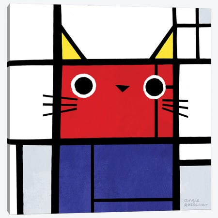 Piet Meowdrian Canvas Print #ARZ1} by Angie Rozelaar Canvas Print