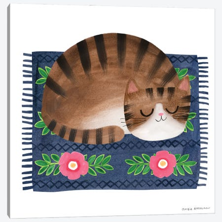 Sleepy Tabby Canvas Print #ARZ22} by Angie Rozelaar Art Print