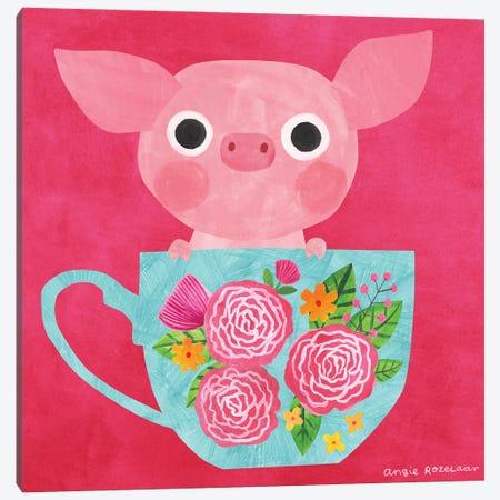 Teacup Piglet Canvas Print #ARZ26} by Angie Rozelaar Canvas Art