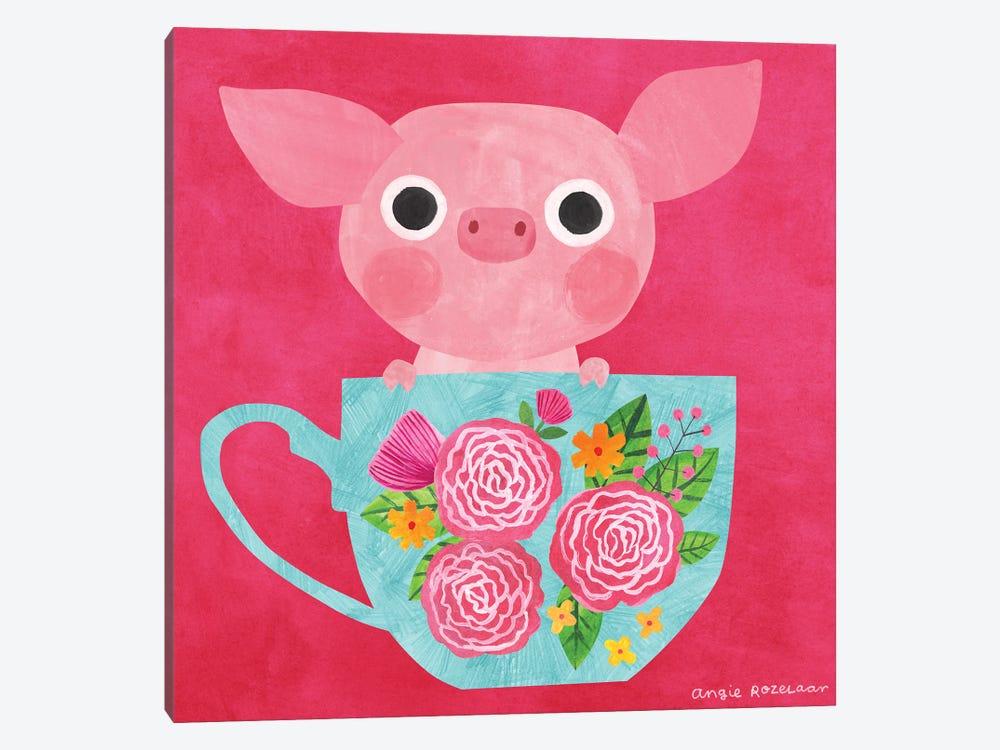 Teacup Piglet by Angie Rozelaar 1-piece Canvas Print