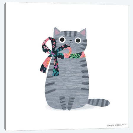 Grey Tabby With Ribbon Canvas Print #ARZ28} by Angie Rozelaar Art Print