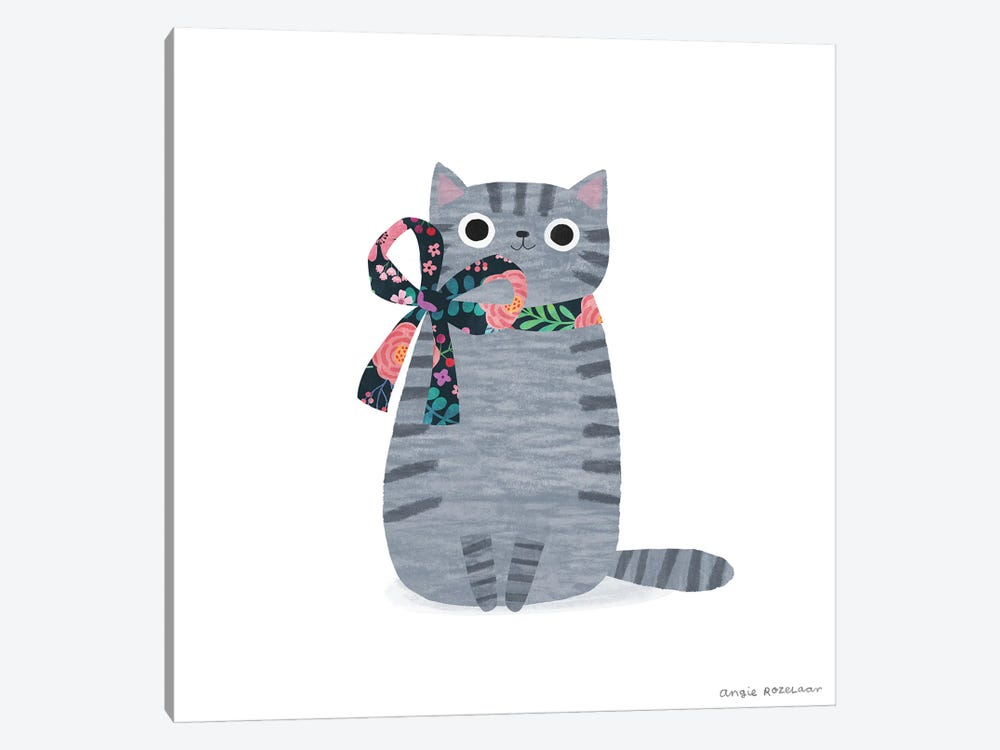 Grey Tabby With Ribbon by Angie Rozelaar 1-piece Canvas Art Print