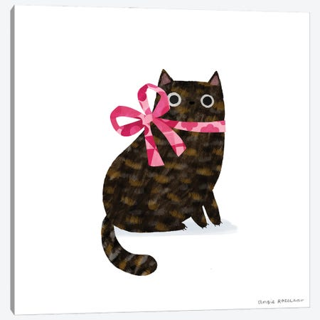 Tortie With Pink Ribbon Canvas Print #ARZ29} by Angie Rozelaar Canvas Print