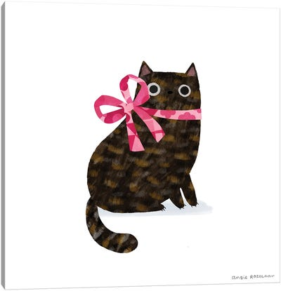 Tortie With Pink Ribbon Canvas Art Print